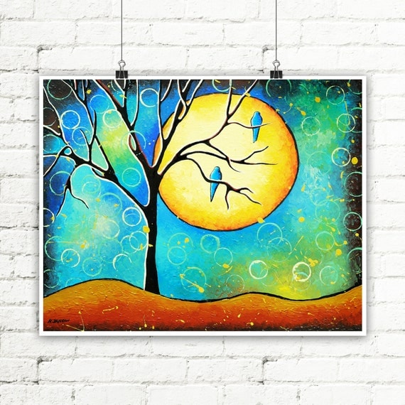 Tree Wall Art, Tree Print, Blue Bird Art, Tree of Life Art Print, Modern Home Decor, Whimsical Art Print, Nature Art Print
