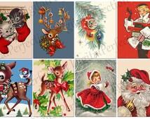 INSTANT DOWNLOAD Christmas Santa Xmas Reindeer Vintage Cards ATCs ACEOs 2.5 X 3.5 inch - DigitalPerfection digital collage sheet 1048
