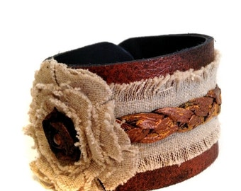 40% OFF SALE Rustic leather bracelet  Boho style Linen Cuff Bracelet  Women's bracelet Leather jewelry
