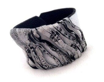 40% OFF Sale Women's wide Leather bracelet Cuff in silver and white color Casual wristband Leather jewelry