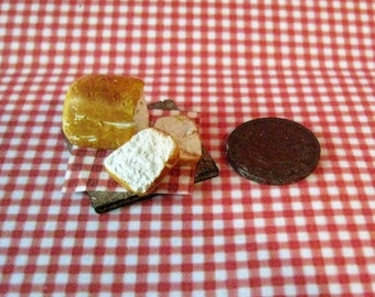 Dollhouse bread, Miniature bread, breadboard, Country bread, hand finished, twelfth scale, dollhouse food