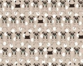 Japanese Kawaii - Khaki Pugs Polka Dots - Cotton Linen - Fabric 1/2 Yard