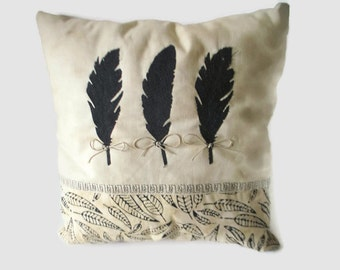 Appliqued Feather Pillow, Accent Pillow, Aztex Decor,  Appliqued Pillow, Free-Motion, Black and Cream Pillow