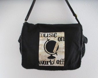 Messenger Bag, Canvas Messenger Bag, Black Messenger Bag, Book Bag, Diaper Bag, Music Theme,  Appliqued Messenger Bag, Music On World Off