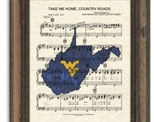 Take Me Home Country Roads, WV Theme Song, West Virginia University Song Art, Sheet Music Art, John Denver Song Art Print