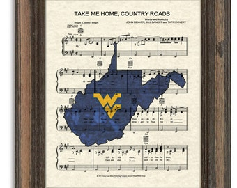Take Me Home Country Roads, WV Theme Song, West Virginia University Song Art, Sheet Music Art, John Denver Song Art Print