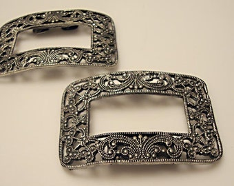 Matched Pair of c.1915 Shoe Buckles, Shoe Clips:  Intricate Details, Metal Castings Mimicking Cut Steel