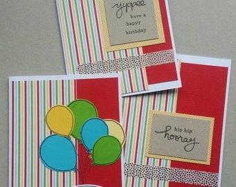 Bold stripes - set of 3 handmade birthday cards - stampin up