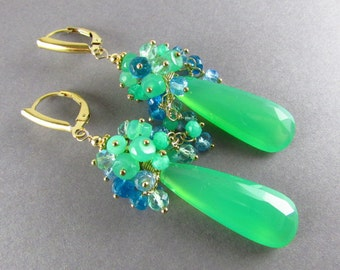 Chrysoprase With Apatite And Sky Blue Quartz Cluster Gold Filled Earrings