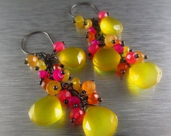 End Of Summer Sale Yellow Chalcedony With Carnelianand Pink Quartz Gemstone Cluster Dangle Earrings - Fruit Punch