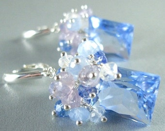 20 % Off Blue Quartz, Lavender Opal, Blue Chalcedony, Topaz and Crystal Gemstone Sterling Silver Earrings