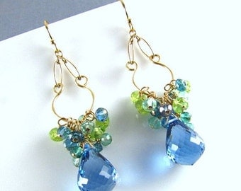20 % Off London Blue Topaz With Peridot and Aquamarine Gold Filled Dangle Earrings.