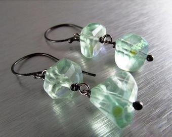 20 % Off Mystic Fluorite Nugget Oxidized Sterling Silver earrings