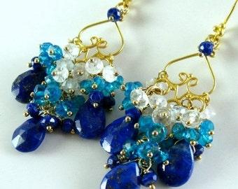 BIGGEST SALE EVER Lapis Lazuli, Neon Bllue Quartz and Moonstone Chandelier Earrings
