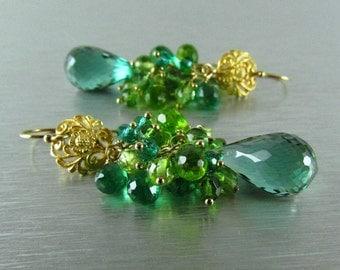 Green Amethyst, Peridot, Green Apatite and Quartz Cluster Earrings