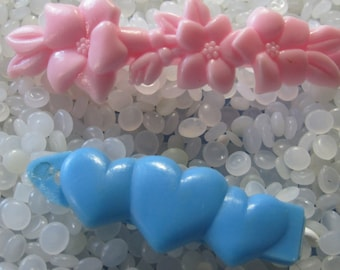 vintage  barrette plastic childs barrettes, pretty pink flowers, large size, trio of blue hearts