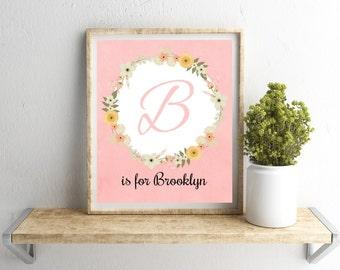 Nursery Wall Art, Personalized Baby Girl Nursery, Custom Name Print, Coral Pink Nursery Decor, Personalized Gift, Mom Wall Art, Baby Gift