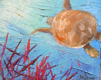"Small Seascape Oil Panting, Coral Reef Sea Turtle, Underwater Painting, Ocean Painting, 8x8x1.5"" Oil Painting, No Frame Required"