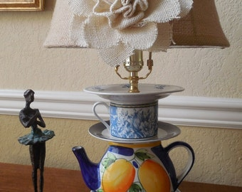 Vintage Shabby Chic teapot lamp, yellow, blue, white, stacked teacup lamp, lamp on sale, CarolSchiffStudio