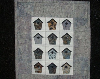 Gray Birdhouse Quilted Wallhanging