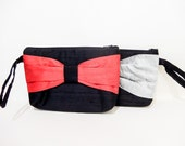 Silk Wristlet, Wife Gift, Handbag, Purse, Fabric Wristlet, Bag with Bow, Party Clutch, Gift for her, Gift under 50, Black with Red or Grey