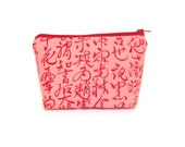 Medium Pouch, Zipper Pouch, Cosmetic Bag, Fabric Pouch, Gift for Her, Gift Under 20, Pouch, Chang Purs, Dusty Rose and Red Kanji Asian Print