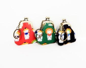 Keychain purse, Metal frame coin purse, Coin Purse with Keychain, Keychain, Change Pouch w Keychain, Japanese Import Keychain, Jizo Keychain