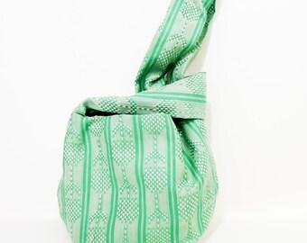 Japanese Knot Bag, Wristlet, Clutch, Mini Handbag, Project Bag, Knitting Bag, Bag, Pouch, Handbag, Small Market Bag, Green Seedlings Bag