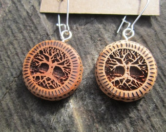 Wood Tree of Life Earrings- in  Juniper,  - Wooden Jewelry,