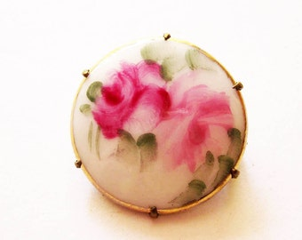 Antique Victorian Hand Painted Porcelain Rose Pin