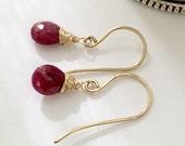 Red Ruby Earrings Wire Wrap Earring Oxidized Sterling Silver 14kt Gold Fill Everyday Dainty Minimalist Earrings Ruby Drop Single Briolette