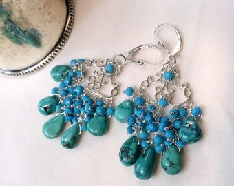 40% SALE Turquoise Chandelier Earring Turquoise Wire Wrap Sterling Silver Handmade Turquoise Cluster Earring Turquoise Boho Chic Statement