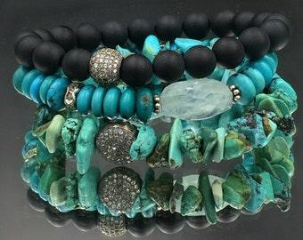 Turquoise Stack Bracelet Handmade Stretch Bracelet Oxidized Sterling Pave CZ Charm Gemstone Bracelet Layering Bracelet Yoga Boho Bracelet