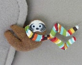 Sloth Car Visor cling on - plush felt stuffed animal in brown with bendable legs and stripe scarf - felt rain forest animal