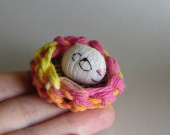 Guinea pig miniature knit plush stuffed animal with crocheted bed