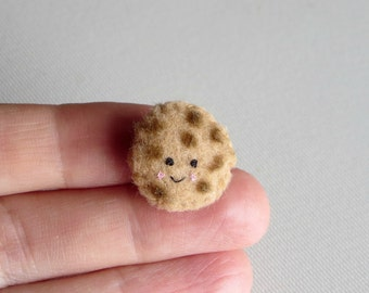 Chocolate chip cookie miniature felt plush play food people