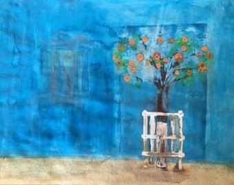 Orange Tree Original Watercolor Painting