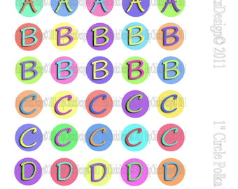 200 Colorful Polka Dot Monogram Initials - 1 inch circles - Instant Download