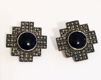 Vintage JUDITH JACK Sterling Silver Black Onyx/Marcasite Earrings, Art Deco Jewelry
