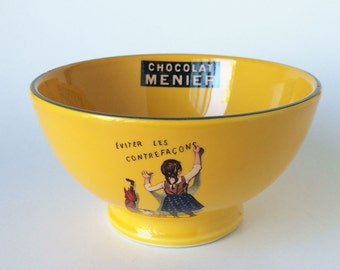 Chocolat Menier Bowl, French Ceramic, Collectible Editions Clouet, Cereal Bowl-Fruit Bowl