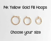 Sleeper Hoop Earrings. 14K Gold Filled Hoop Earrings in Yellow Gold, Rose Gold, Pink Gold