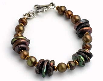 Brown Pearl Bracelet. Sterling silver, Real Pearls and Hematite