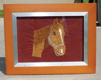 Horse Portrait, Hand Embroidered, Framed