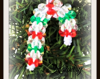 Glistening Beaded Candy Cane Ornament /Glistening Beaded Candy Cane Handcrafted Ornament (Ready to Ship)