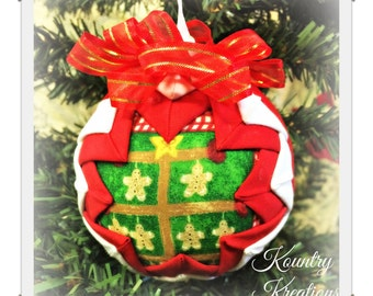 HANDMADE QUILTED Ornament/Window Tree ORNAMENT Made from Fabric/  (Ready to Ship)