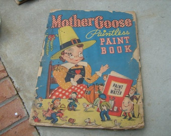 antique 1945 large used  Mother Goose paint/coloring book from Whitman publishing co. Racine, Wisconsin