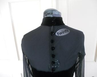 Gown dress black glam tea length velvet trim sheer long sleeves button down back elegant hollywood