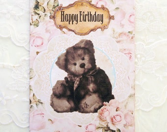 Teddy Bear Note Cards, Blank Note Cards, Birthday cards, Retro Vintage Style,  Children Birthday, Brown Teddy Bear,Greeting,Shabby Cottage,