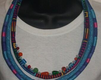 Vibrant Blue Turquoise Coil Textile Necklace