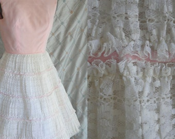 60s Dress // Vintage 1960's Pink and White Lace Ruffly Prom Dress Size S 24 waist full skirt 50's